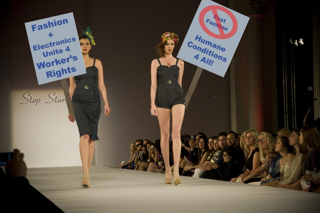 Runway Models holding picket signs