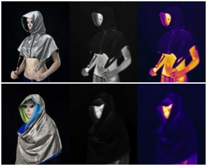 images of two garments showing regular light, dark, and infared signatures.