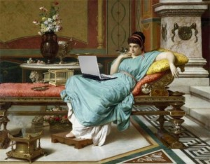 Giannetti painting of a woman lounging, onto which Mike Licth has superimposed a laptop