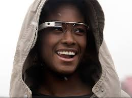 Woman wearing a hood and Google Glass