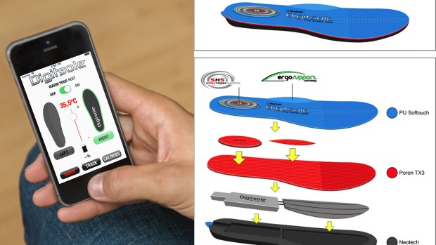Digitsole screenshot and insert technology diagram