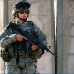 "A U.S. Army soldier wearing ""full battle rattle."""