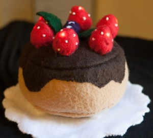 Ariana Berdy's circuits project. A felt strawberry cake