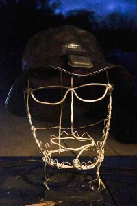GasCap on a wire bust of myself I made years ago