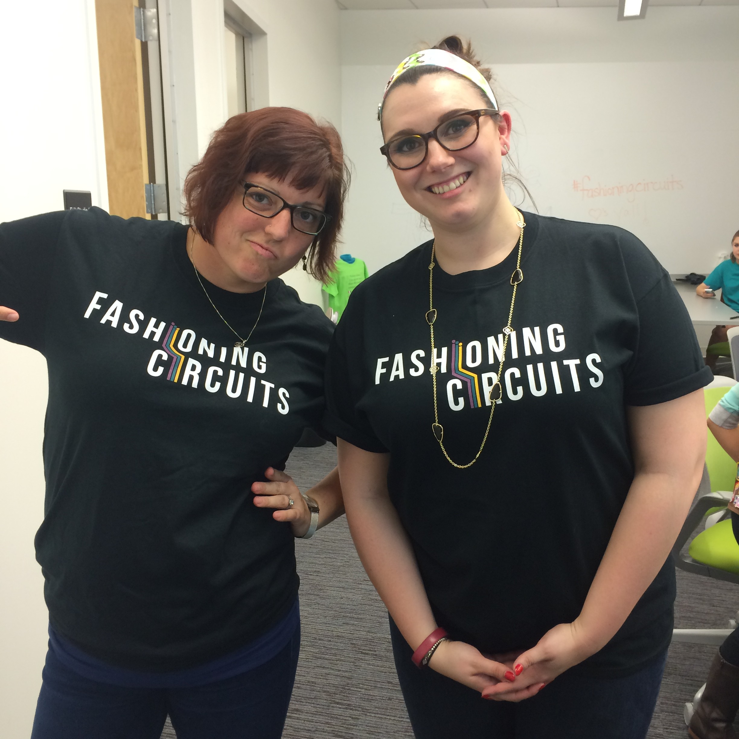 Laura Pasquini and Patti McLetchie model our new Fashioning Circuits t-shirts before the Brownies arrive.