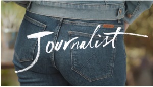 "woman's torso from behind with the word ""journalist"" over her jeans clothed ""bum"""