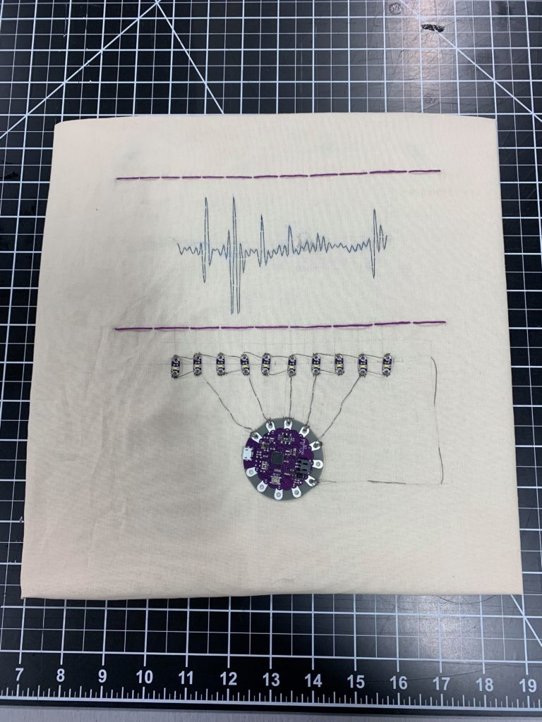 critical making project with Arduino lilypad titled a luta continua for fashioning circuits lab at UTD
