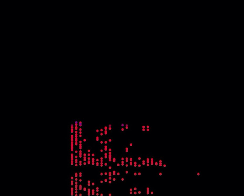 As audio plays, the sketch produces the braille-like red dots at this mid-point, which then descend off the screen, in a continuous loop.