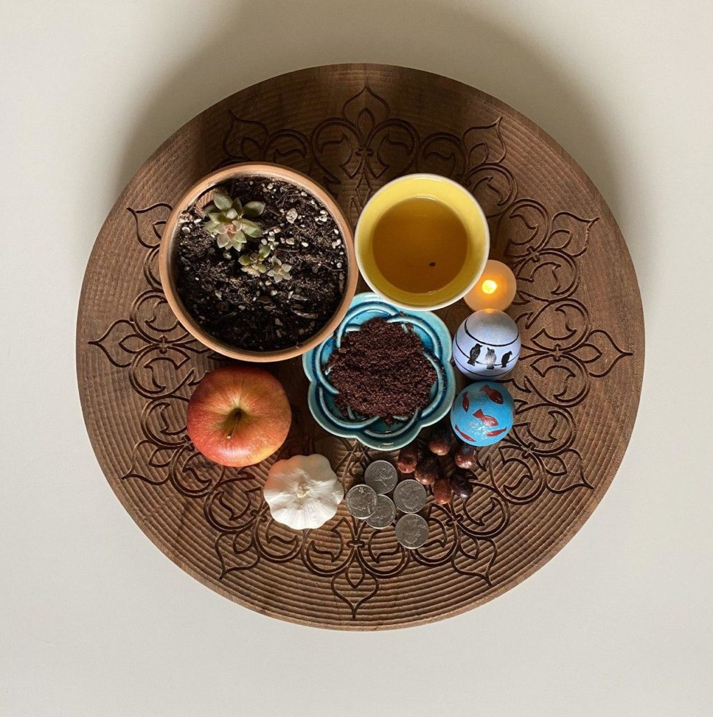"Haft-Sin is a traditional arrangement of seven symbolic items whose names start with the letter ""s"" pronounced as ""seen"" at Nowruz (Persian new year)."